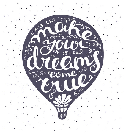 embody: Lettering composition inscribed into air ballon. Dark blue air balloon and white letters. Isolated illustration for print. Blue dots on background.