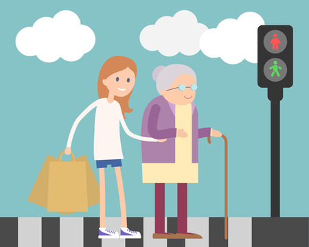 old lady: Girl helping old woman to cross the road. Flat illustration about kind girl.