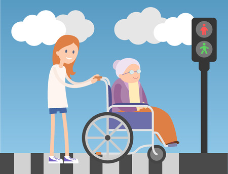 cross street with care: Kind girl helps old lady on wheelchair. Colorful flat illustration. Blue sky and clouds on background. Illustration
