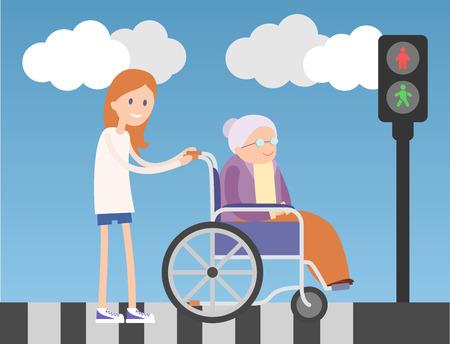 persona en silla de ruedas: Muchacha buena ayuda a anciana en silla de ruedas. Ilustración plana colorido. Cielo azul y nubes en el fondo.