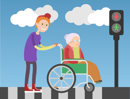 kind of: Kind boy helps old lady in wheelchair. People crossing the road. Blue sky and clouds on background.