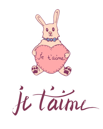confession: French lettering card. Dark pink color confession of love on white background. Cute cartoon rabbit holding toy heart.
