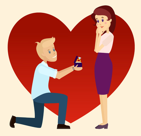 proposed: Marriage proposal on one knee. Blond guy and brown-headed woman. Bright red heart on background.