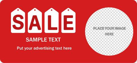 orifice: Horizontal sale red banner. Transparent hole for image. White labels under letters. Illustration