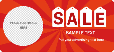 Horizontal sale banner. Orange rays on red. Transparent hole for image.