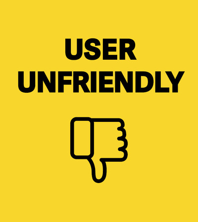 broadsheet: User unfriendly card. Concept banner about unfriendly interfaces. Black letters on white background. Thumbs down symbol.