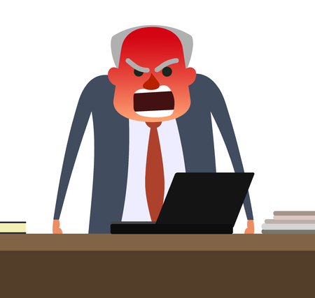 impatient: Angry boss with face getting red. Gray man standing behind table and yelling. Flat vector illustration on white background.