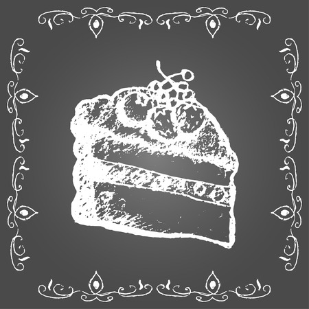 sweetshop: Chalk cream cake with berries and vintage frame on gray background.