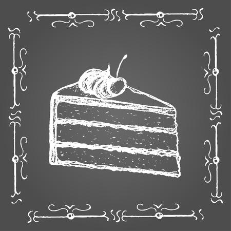 porcion de pastel: Tiza pedazo de la torta con crema y cerezas en la parte superior. Marco de la vendimia en el fondo gris.