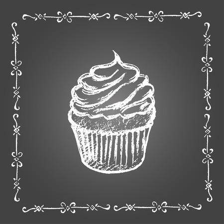 Chalk cupcake and vintage frame on gray background. Illustration