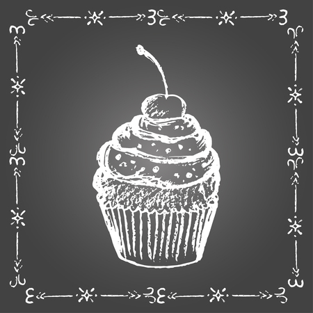 Chalk cupcake with sprinkles and cherry and vintage frame on gray background. Illustration