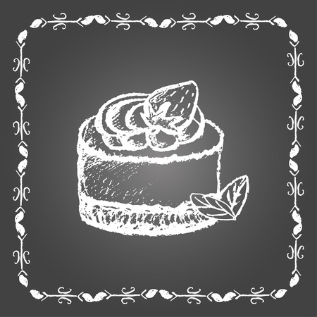 sweetshop: Chalk dessert with strawberry and mint leaves. Vintage frame on gray background.