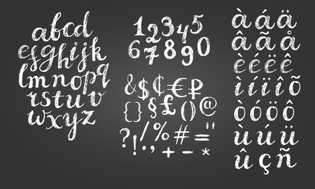 Chalk script font. Lowercase letters, digits, diacritics letters, special symbols and money signs.