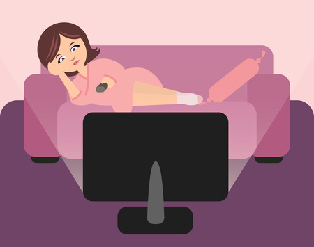 couch: Cute housewife lying on sofa and watching tv. Woman in bathrobe with remote control in hand. Illustration in pink and purple colors.