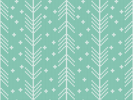 herringbone background: Seamless knitted pattern with winter ornament. Turquoise background and white herringbone and snowflakes decorations. Illustration