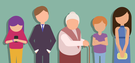 People standing in line and waiting. Teenager girl, boy, businessman, old lady and young woman gathered in queue on light turquoise background. Flat vector illustration. Illustration