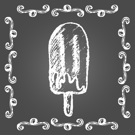 Chalk ice cream chocolate popsicle and vintage frame on gray background.