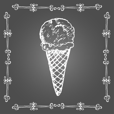 Chalk ice cream cone and vintage frame on gray background.