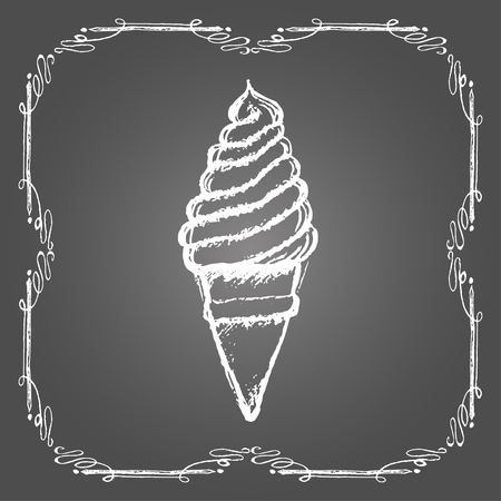 sweetshop: Chalk soft ice cream in cone and vintage frame on gray background.