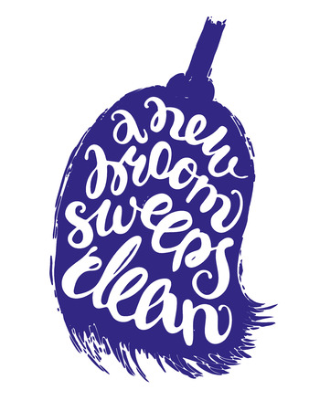 inscribed: Isolated white lettering inscribed into silhouette of dark blue broom on white background. Proverb is a new broom sweeps clean. Simple vector illustration for print and design projects.