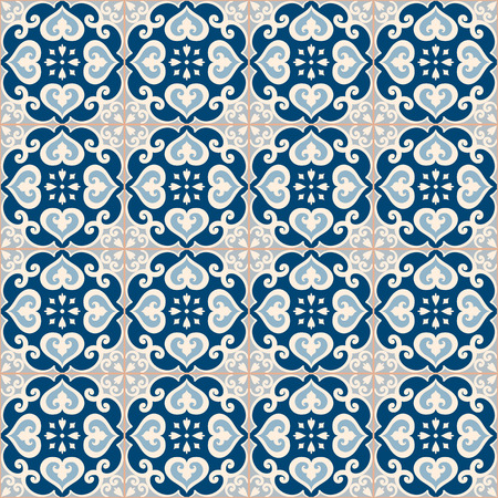 azulejos: Seamless pattern. Traditional portuguese azulejos tile ornament. Light, dark blue and gray colors. Illustration