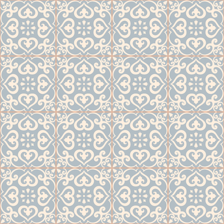 azulejos: Seamless pattern. Traditional portuguese azulejos tile ornament. Light blue and gray colors.