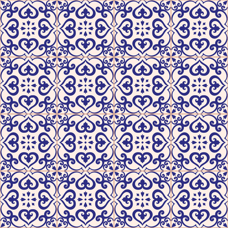 azulejos: Seamless pattern. Traditional portuguese azulejos tile ornament. Dark blue and light gray colors.