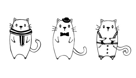 suspender: Set of three funny sketch cats. Black on white background.