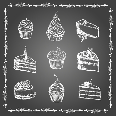 sweetshop: Chalk desserts and bakery products set. Cupcakes and cakes in vintage frame.