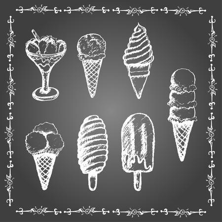 helado caricatura: Tiza conjuntos de helados. Popsicle, conos y helado servido en vidrio.
