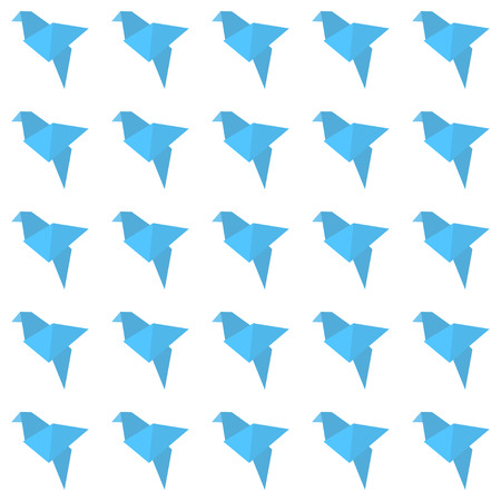 origami bird: Origami bird seamless pattern. Blue and white colors.