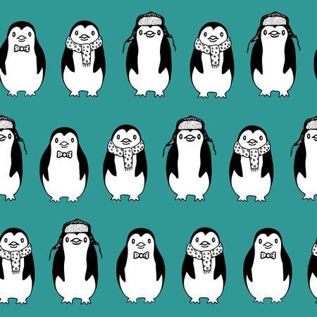 背景色が水色で面白いスケッチ ペンギンのシームレスなパターン。  イラスト・ベクター素材
