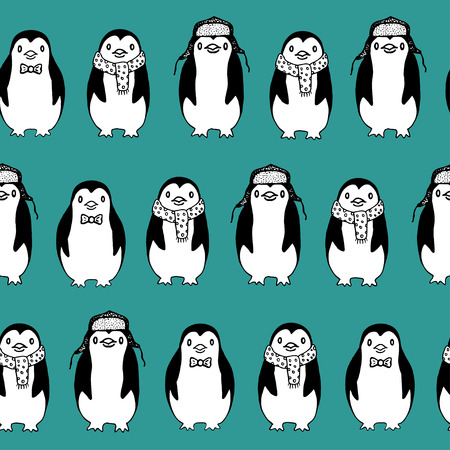 Seamless pattern of funny sketch penguins on turquoise background. Illustration