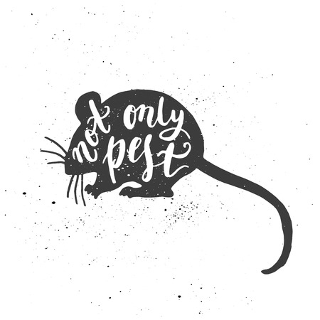 Lettering composition. Phrase Not only pest inscribed into mouse silhouette. Ink splashes on white background.