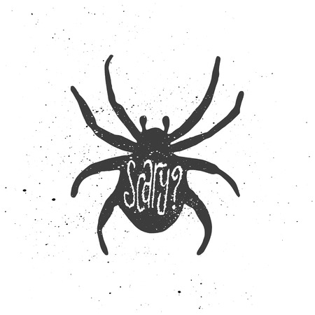 inscribed: Lettering composition. Word Scary and question mark inscribed into spider silhouette. Ink splashes on white background.