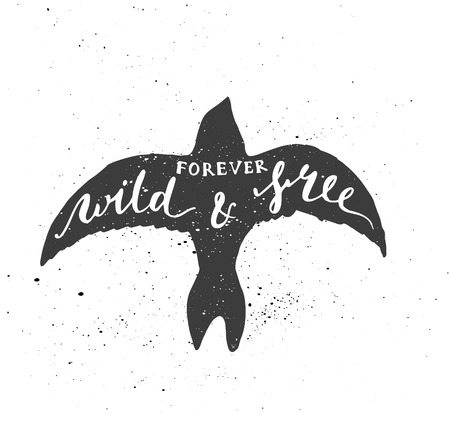 inscribed: Lettering composition. Phrase Forever wild and free inscribed into common swift silhouette. Ink splashes on white background. Illustration