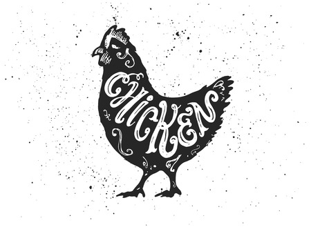 Farm bird silhouette with Chicken hand lettering inscription. Ink spots on white background.