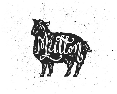 mutton: Farm animal silhouette with Mutton hand lettering inscription. Ink spots on white background.