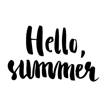 phrase: Brush lettering composition. Isolated phrase Hello, summer on white background.