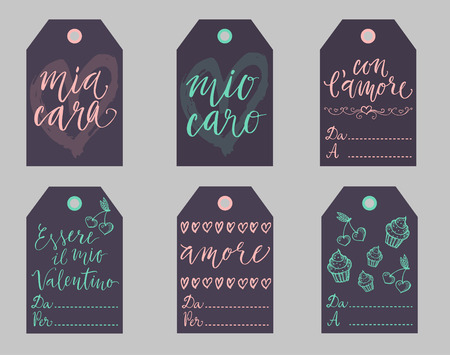 amore: Saint Valentine dark gift tags set in Italian. Essere il mio Valentino is Be my Valentine, con lamore - with love, mio caro cara - my dear, amore - love, Da - from, A Per - To. Illustration