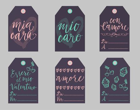 Saint Valentine dark gift tags set in Italian. Essere il mio Valentino is Be my Valentine, con lamore - with love, mio caro cara - my dear, amore - love, Da - from, A Per - To. Ilustração