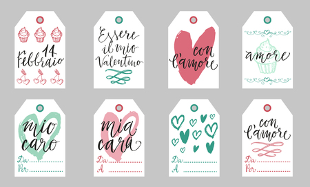 amore: Saint Valentine light gift tags set in Italian. Febbraio is February, Essere il mio Valentino - Be my Valentine, con lamore - with love, mio caro cara - my dear, amore - love, Da - from, A Per - To.