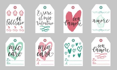 Saint Valentine light gift tags set in Italian. Febbraio is February, Essere il mio Valentino - Be my Valentine, con lamore - with love, mio caro cara - my dear, amore - love, Da - from, A Per - To.