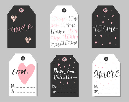 amore: Set of gift tags to Valentine day in Italian. Six labels with italian titles. Amore means love. Ti amo means I love you. Buon San Valentino - Happy Valentines day. Da - From, A and Per - To. Illustration