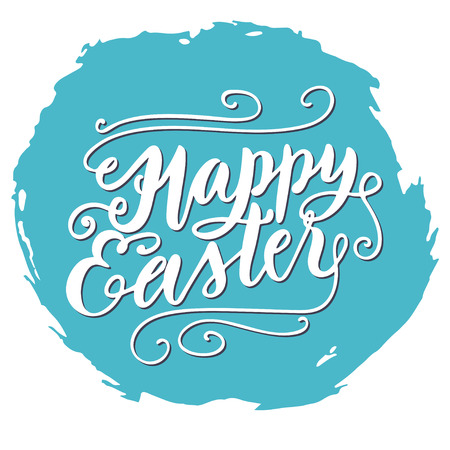 embellishments: Modern brush lettering composition. Happy easter inscription with swirls and embellishments on blue brush stroke spot.