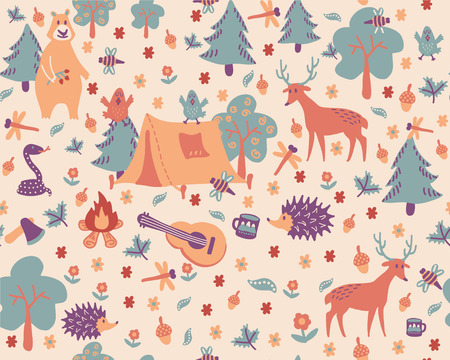 Cartoon seamless pattern. Cute illustration about camping in forest. Wild animals, plants and hiking attrubutes.