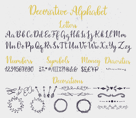 in english: Modern calligraphy decorative alphabet with numbers, symbols, diacritics and decoration elements. Ink splashes on background. Illustration