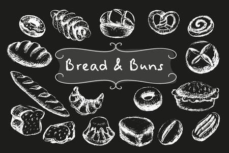 eclair: Chalk bread and buns set. White illustrations on dark background. Illustration