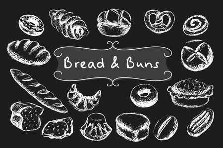 Chalk bread and buns set. White illustrations on dark background. Stock Illustratie