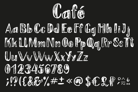 Chalk lating alphabet. Font with multilingual support, numbers, all letters, money symbols, diacritics and other signs. Ilustração Vetorial